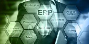 a businessman in a suit choosing Cloud ERP
